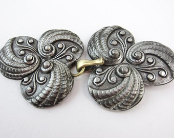 vintage buckle pewter great for cloak or costume