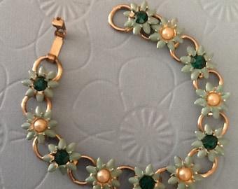 Vintage Turquoise Enamel Flower Bouquet Bracelet with Rhinestones Pearls