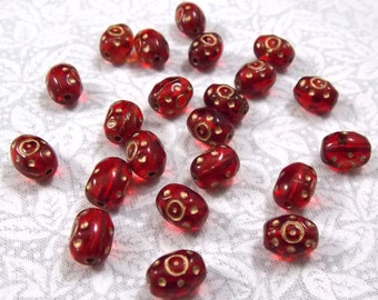 Vintage Czech Red Glass Beads, Middle Eastern Design, 25