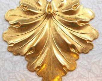 Large Raw Brass Leaf Stamping