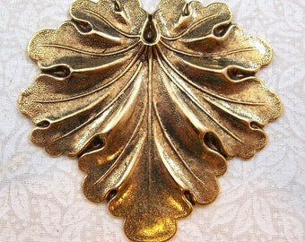 Large Antiqued Gold Brass Leaf Stamping