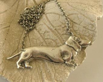 SILVER DOXIE NECKLACE Daschund Necklace vintage silver brass