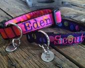 "Med or Lg Personalized Dog Collar Any Pattern, Name Color, and 1"" Width Size. Dog Gone It. Embroidered Dog Collar."