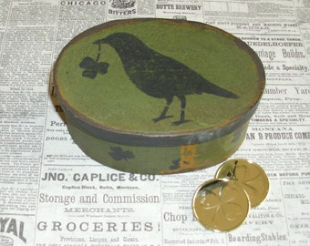 Paper Mache Vintage Green Lucky Crow Box 102