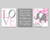 Floral Elephant Love Trio - Set of Three 8x10 Nursery Art Prints - First We Had Each Other - Choose Your Colors