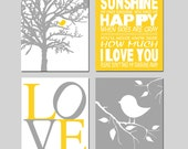 Baby Bird Sunshine Nursery Art Quad - Set of Four 8x10 Prints - You Are My Sunshine, Baby Birds, Love - CHOOSE YOUR COLORS - Yellow and Gray