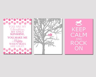 Modern Nursery Art Trio - Set of Three 8x10 Prints - You Are My Sunshine, Birds in a Tree, Keep Calm and Rock On - CHOOSE YOUR COLORS