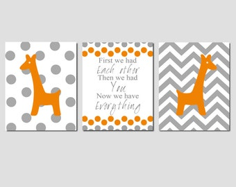 Nursery Art Print Trio - Set of Three 8x10 Prints - First We Had Each Other, Polka Dot and Chevron Giraffes - CHOOSE YOUR COLORS