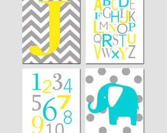 Nursery Art Quad - Set of Four 8x10 Prints - Chevron Monogram Initial, Modern Alphabet, Numbers, Polka Dot Elephant - CHOOSE YOUR COLORS