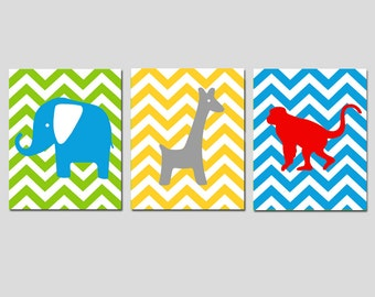 Chevron Animal Nursery Art Trio - Set of Three 8x10 Prints - Kids Wall Art - Elephant, Giraffe, Monkey - Jungle Safari - CHOOSE YOUR COLORS