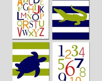 Alligator Boy Nursery Art Alphabet Quad - Set of Four 8x10 Prints - Alphabet, Numbers, Alligator, Turtle - CHOOSE YOUR COLORS