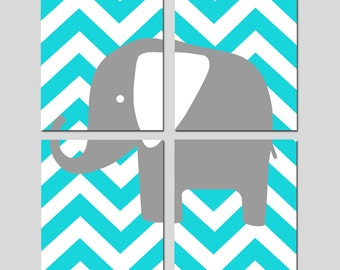 Chevron Elephant - Modern Nursery Art Quad - Set of Four 8x10 Prints - CHOOSE YOUR COLORS - Shown in Aqua, Gray, Yellow, Lilac, and More