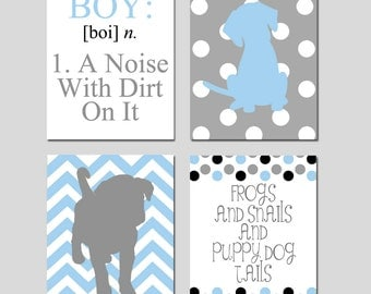 Kids Wall Art - Boy - A Noise With Dirt On It - Set of Four 11x14 Prints - Chevron Polka Dot Puppy Dogs, Frog, Snails - Choose Your Colors