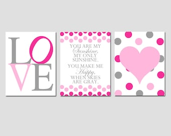 Modern Nursery Trio - Set of Three 8x10 Prints - You Are My Sunshine, LOVE, Polka Dot Heart - Kids Wall Art - Hot PInk, Gray, Light Pink