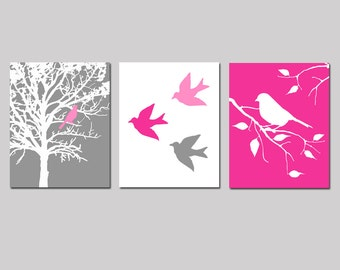 Nursery Art Prints - Modern Bird Trio - Set of Three 8x10 Prints - Birds and Trees - CHOOSE YOUR COLORS - Shown in Gray, Hot Pink, and More