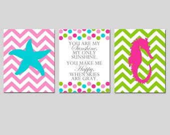 Kids Wall Art - NAUTICAL Nursery - Chevron STARFISH, You Are My Sunshine, Chevron SEAHORSE - Choose Your Colors - Set of Three 11x14 Prints