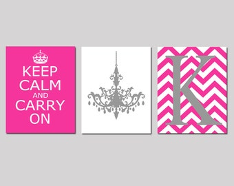 Keep Calm and Carry On, Chevron Monogram, Chandelier Trio - Set of Three 8x10 Prints - Kids Wall Art - Teen - Girl - CHOOSE YOUR COLORS