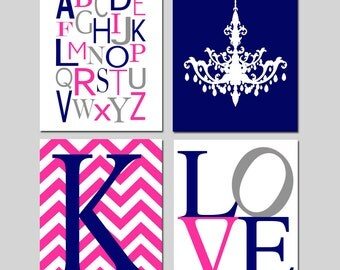 Girl Nursery Art Quad - Modern Alphabet, Chandelier, Love, Chevron Monogram Initial - Set of Four 8x10 Prints - CHOOSE YOUR COLORS