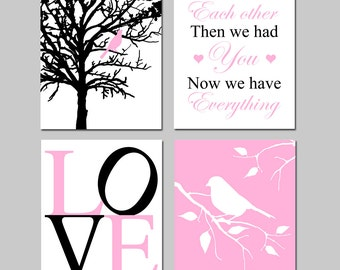 Baby Girl Nursery Art - Bird in a Tree, First We Had Each Other, Love, Bird on a Branch - Set of Four 8x10 Prints - CHOOSE YOUR COLORS