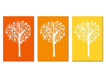 Tree Dot Trio - Set of Three 11x17 Prints - Modern Nursery Art - CHOOSE YOUR COLORS - Shown in Orange, Yellow-Orange, Yellow, and More