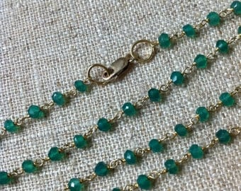 Green Onyx and 22kt Gold Vermeil (gold plated sterling silver) Chain Necklace 30""