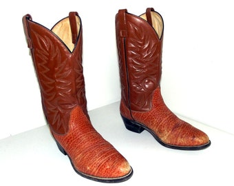 Vintage Tan brown cowboy boots size 10 D or cowgirl size 11.5