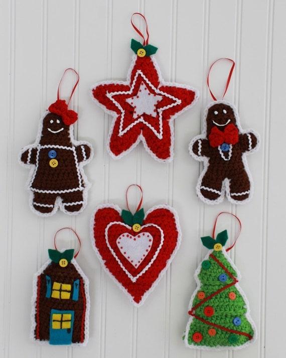 Gingerbread Christmas Tree Ornaments Crochet Pattern PDF