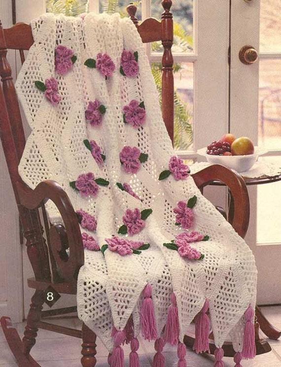 Crochet Pattern Rose Trellis Afghan : Trellis Rose Afghan Crochet Pattern PDF