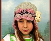 Children Hat Crochet Children Hat Toddler Girl Hat with Flower in Beige Mocha and Pink Colors READY TO SHIP