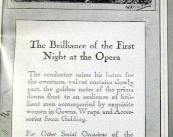 1922 Gidding Clothing Ad First Night at the Opera Art Deco Fashion Wescott Art