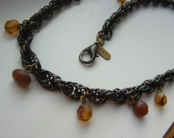 Exceptional Vintage DKNY MultiLink Neckchain with Amber Drops