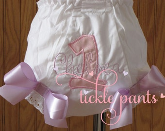 Birthday Bloomers- Diaper Cover- NAME and AGE embroidery- Made to match your Birthday Collection