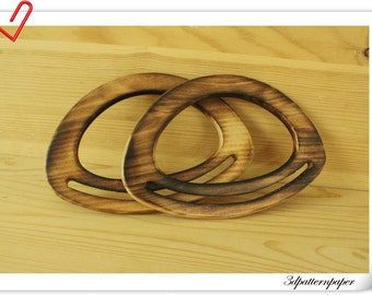 a pair 16.5cm x 11.5cm Wooden purse handle  wooden purse frame M66