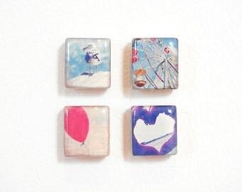 cubicle decor - scrabble® tile magnet or thumb tack set - vintage shore photo magnets - repurposed game piece push pins