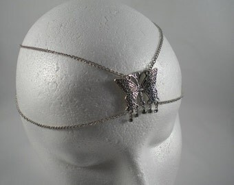 Chain Maille Butterfly Circlet in Black Diamond (Grey) Crystal