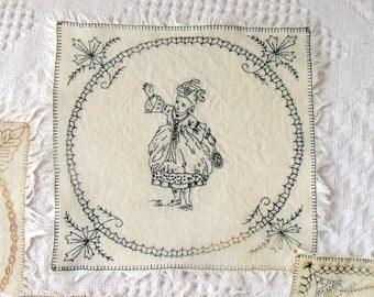 4 Needlework Samplers Vintage Linen Squares
