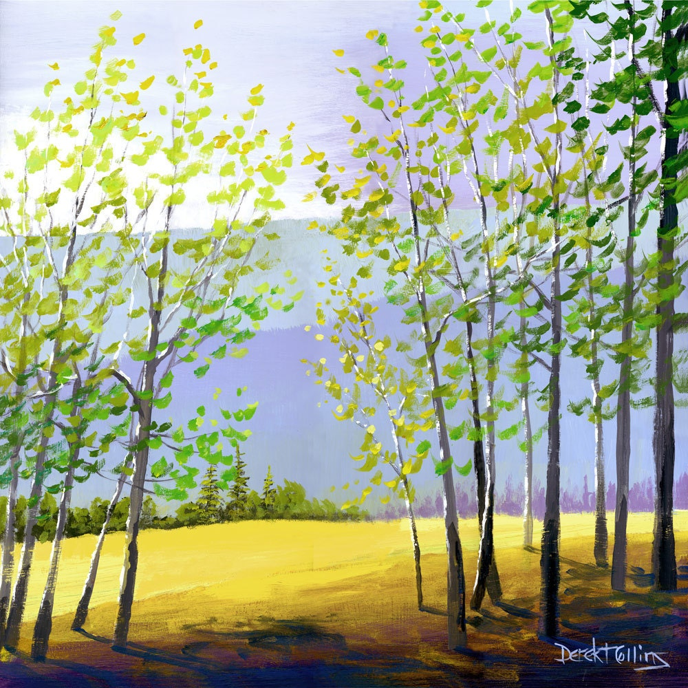 Tree painting print acrylic painting of the forest trees and for Painting a forest in acrylics