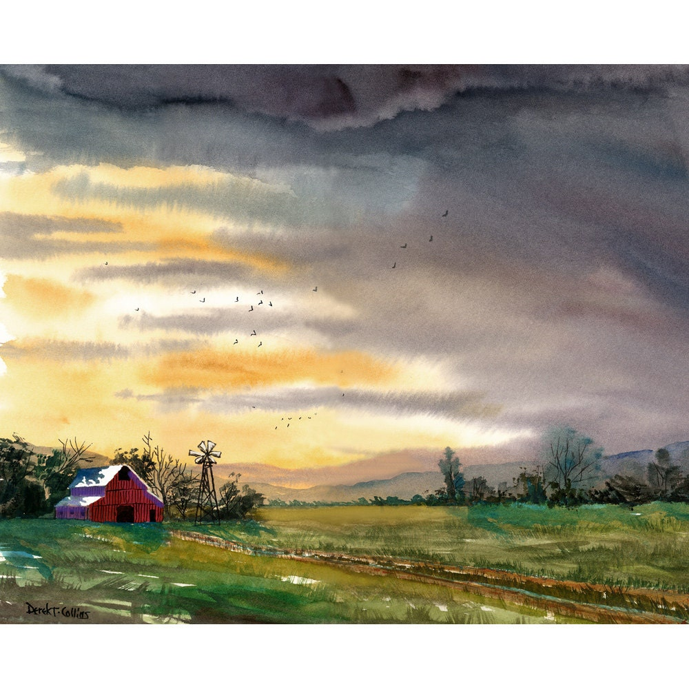 barn painting watercolor landscape painting sunset print