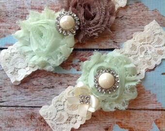 MINT & MOCHA wedding garter set / bridal  garter/  lace garter / toss garter included /  wedding garter / vintage inspired lace garter