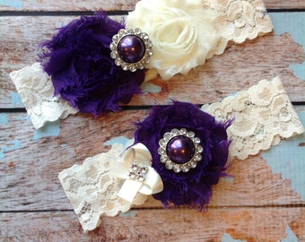 DARK PURPLE  wedding garter set / bridal  garter/  lace garter / toss garter included /  wedding garter / vintage inspired