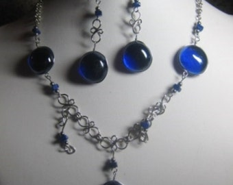 Blue Glass Necklace and Earrings Set