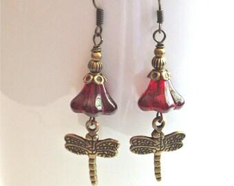 Dragonfly Earrings - Red Flower Czech Glass, Brass, Dragonfly Jewelry