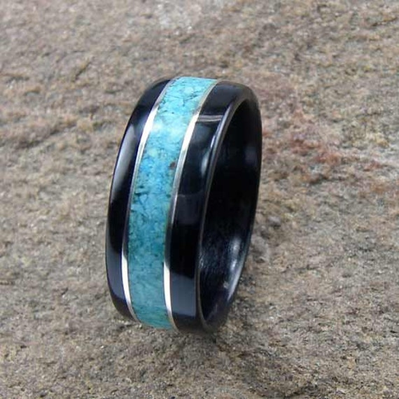 Bentwood mens ring ebony with turquoise inlay with sterling for Mens turquoise wedding rings