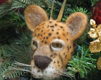 Needle Felted Ornament Jaguar Wool Sculpture