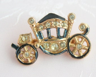 Cinderella Carriage Brooch Vintage 1950s Cinderella Princess Coach Figural Pin