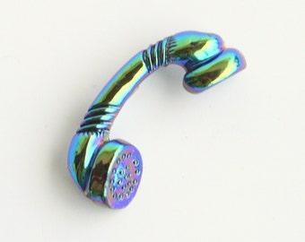 Retro Telephone Handset Brooch Vintage Blue Carnival Glass Colored Phone Figural Pin Purple Enamel Iridescent
