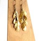 Gold Dangle Cluster Earrings Brass Faceted Drop Teardrop Handmade Fashion Jewellery