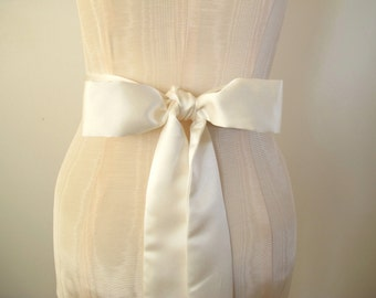 Ivory Matte Satin Sash, Bow Belt, Wedding Sash, Bridal Sash, Bridesmaid Sash, Long Length