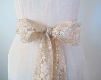 SALE Lace Sash, Champagne Light Taupe Nude Wedding Sash, Lace Belt by ccdoodle on etsy