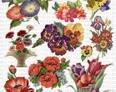 Printable Floral Digital Collage Sheet Vintage Purple Red Orange Flowers 8x11 Instant Download